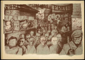 Lithograph by Leo Haas, Holocaust artist