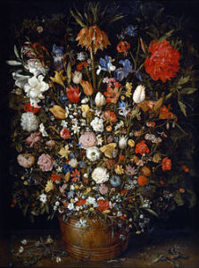 """Flowers in a Wooden Vessel"" Jan Brueghel the Elder Wikipedia"