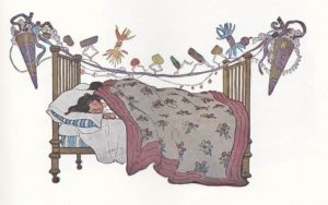 jessie willcox smith illustration for twas the night before christmas published in 1912 -- girl sleeping