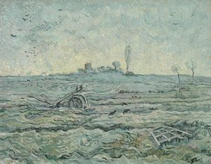 snow covered field with a harrow (after millet)